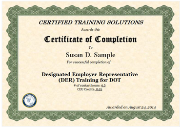 Designated Employer Representative Online Training Certificate