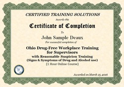 Ohio Drug Free workplace training certificate Ohio DFSP training online certificate of completion