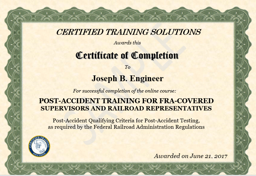 FRA Post Accident Training Certificate Sample