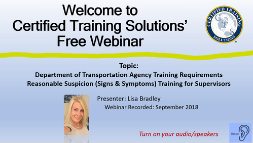 Picture reasonable suspicion training for supervisors DOT training for supervisors