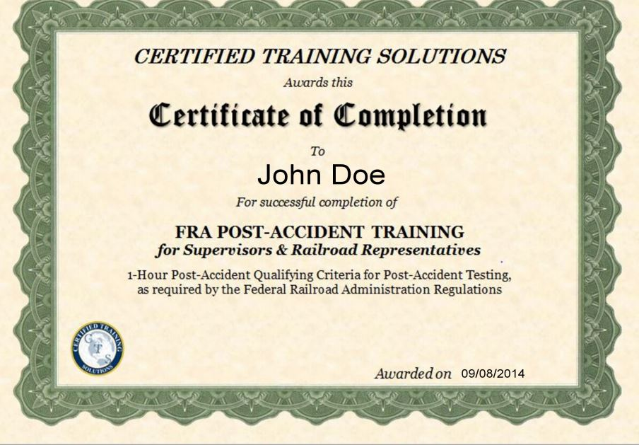 FRA Post Accident Reasonable Suspicion Certificate
